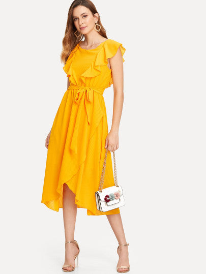Flounce Trim Asymmetrical Wrap Hem Belted Dress
