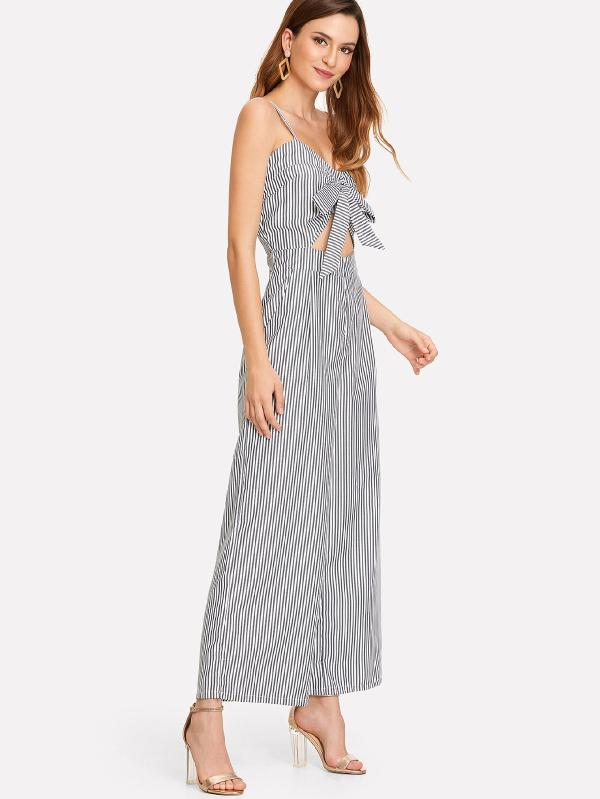 Cut Out Knot Front Striped Jumpsuit