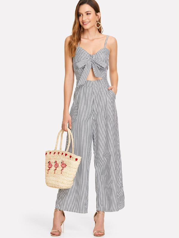 RZX Cut Out Knot Front Striped Jumpsuit