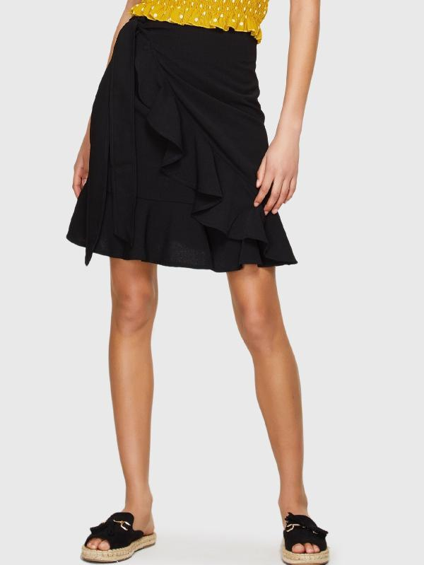 Knot Side Ruffle Trim Skirt