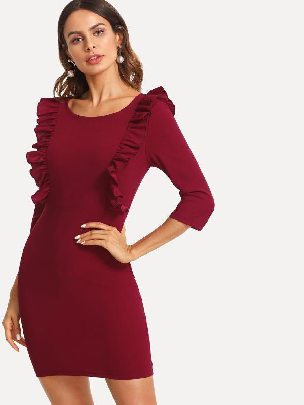 Ruffle Trim Solid Dress