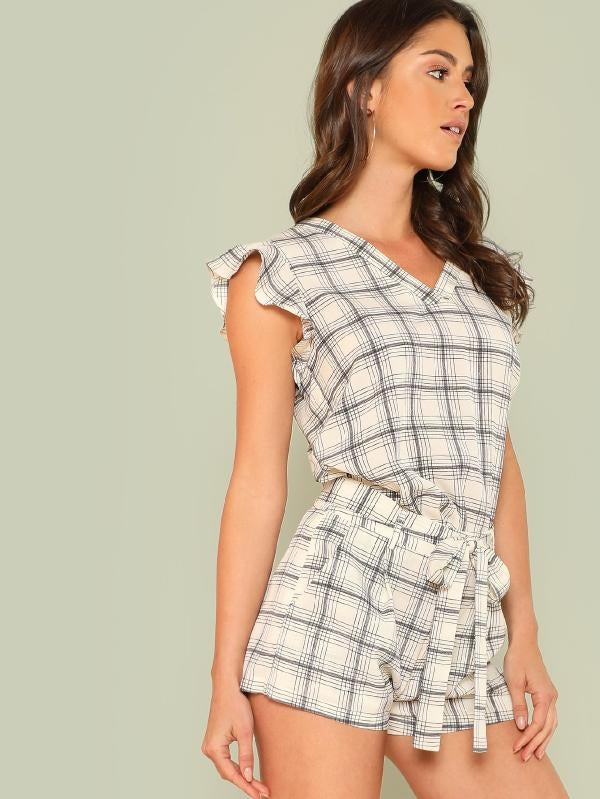 Plaid Print Top And Self Tie Waist Shorts Set