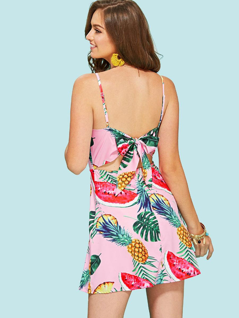 Knot Open Back Tropical Cami Dress