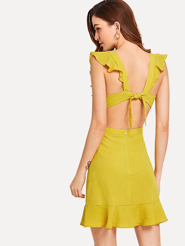 Knotted Open Back Solid Ruffle Dress