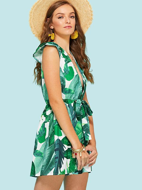 Leaf Print Deep V Neckline Knot Front Dress