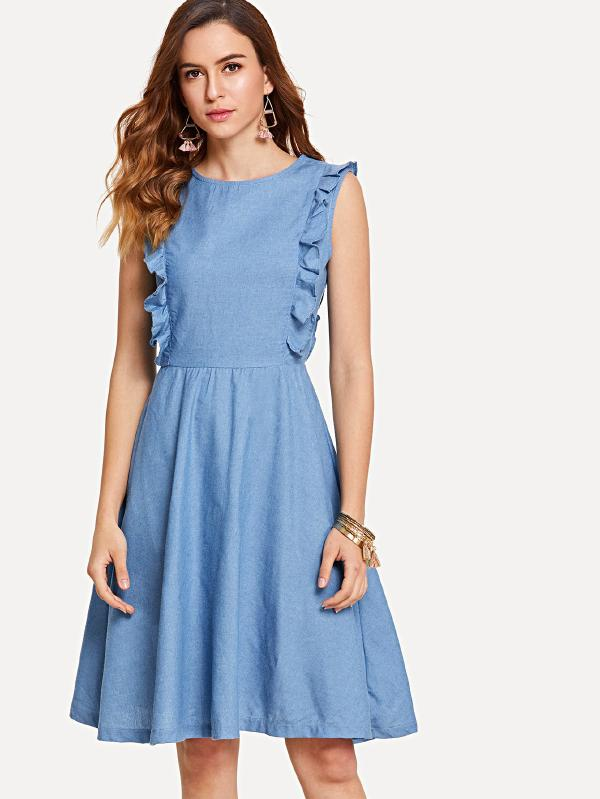 Ruffle Embellished Sleeveless Denim Dress