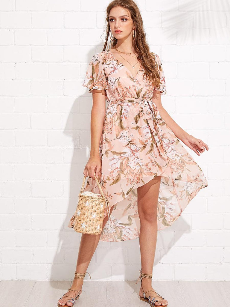 Flutter Sleeve Floral Dip Hem Dress