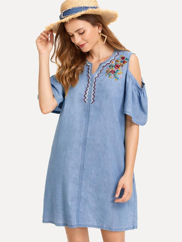 Botanical Embroidered Open Shoulder Denim Dress