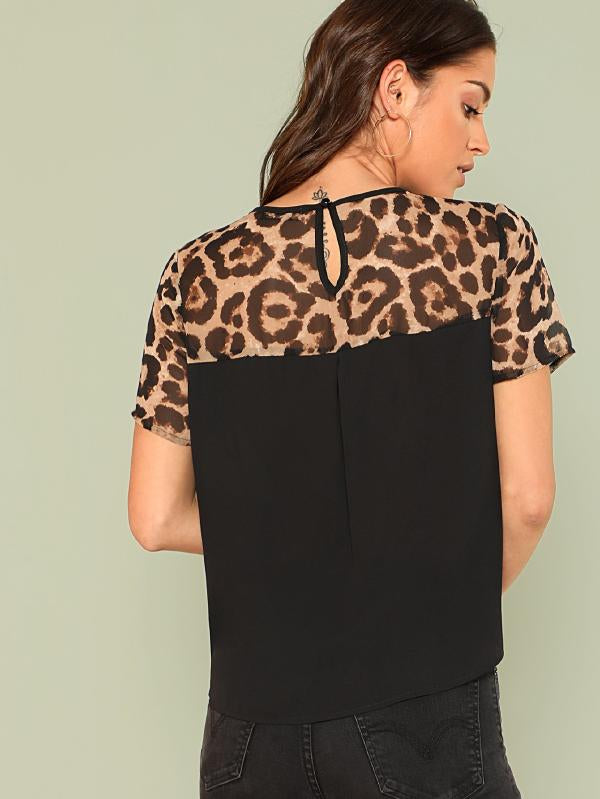 Cut And Sew Leopard Yoke Top