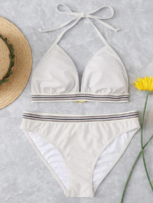 Striped Trim Halter Bikini Set