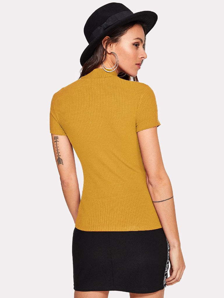 Color Block Ribbed Tee