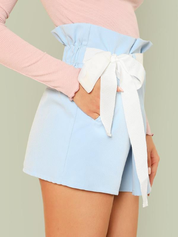 Ribbon Tie Waist Shorts