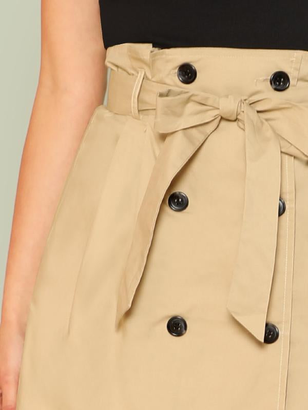 Self Belted Double Button Skirt