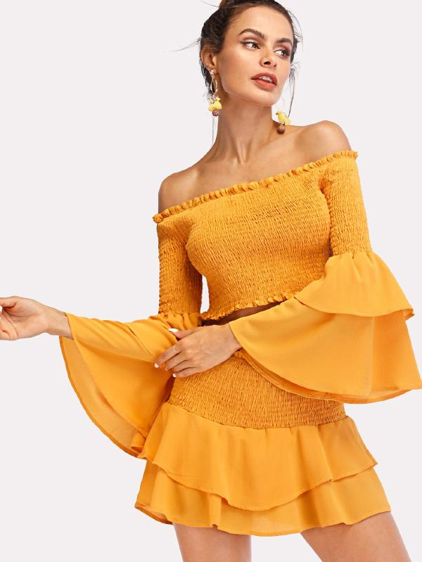 Tiered Ruffle Sleeve Shirred Top With Skirt
