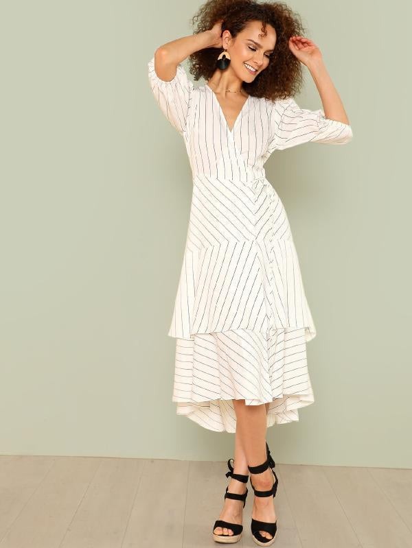 Lantern Sleeve Layered Pinstripe Wrap Dress