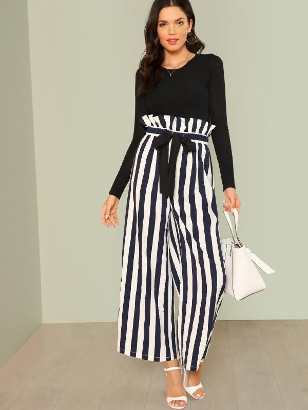 Frill Waist Vertical Striped Pants