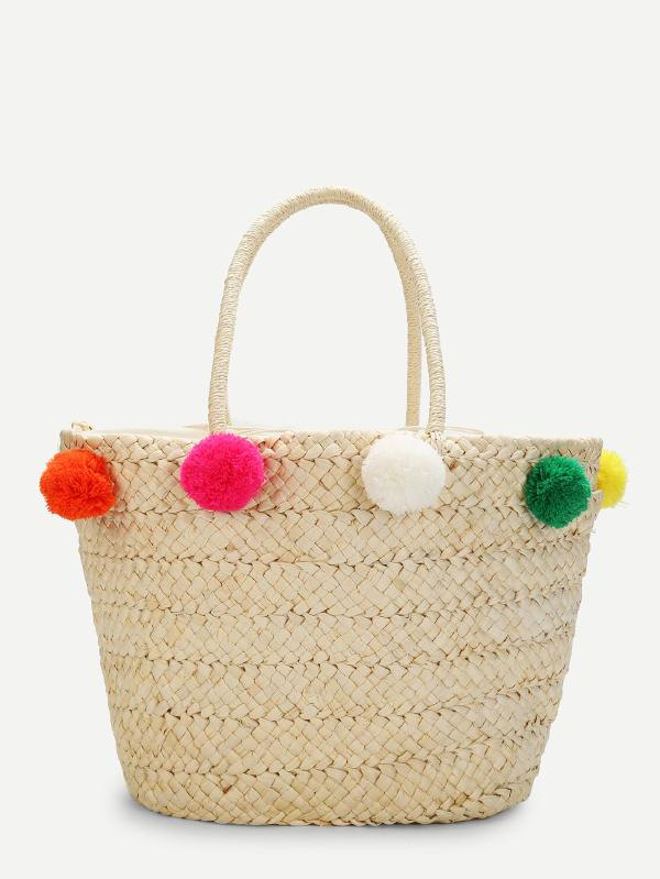 Bucket Bag With Pom Pom