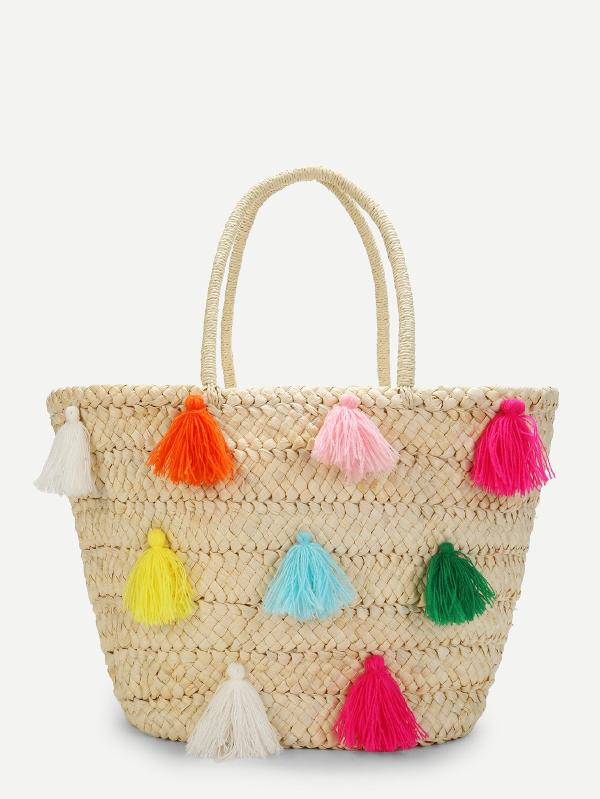 Multicolor Tassel Detail Straw Bucket Bag