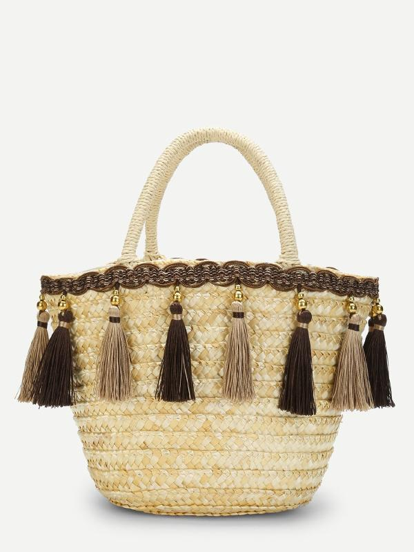Tassel Detail Straw Bucket Bag