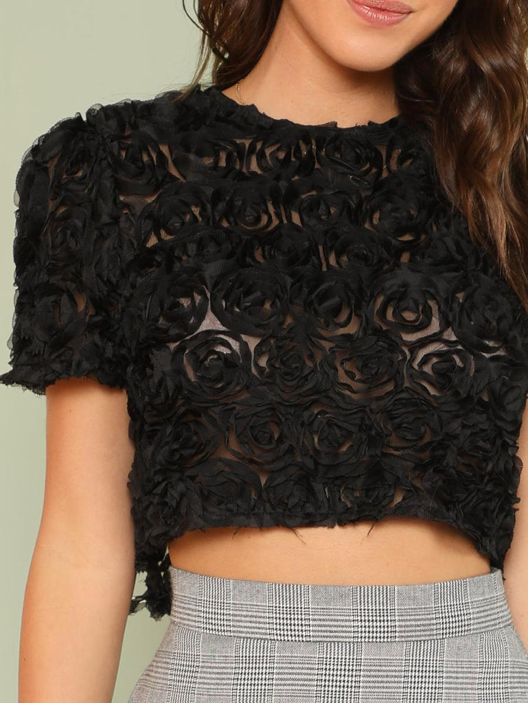 3D Applique Crop Top