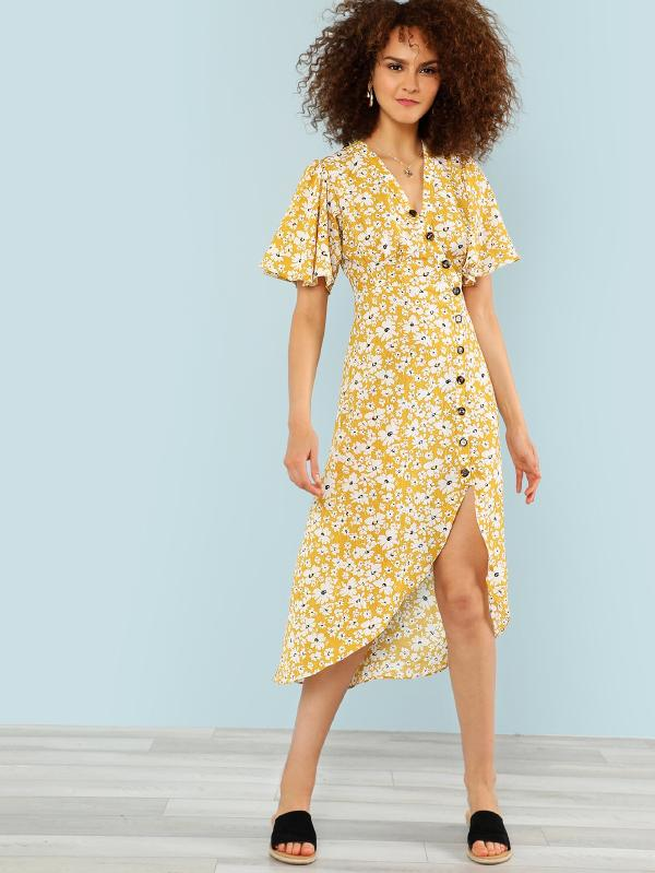 Calico Print Button Up Dress