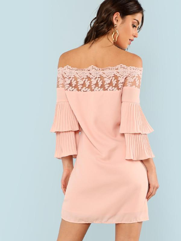Lace Trim Pleated Layered Flounce Dress