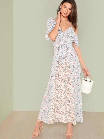 Flower Print Ruffle Trim Maxi Dress
