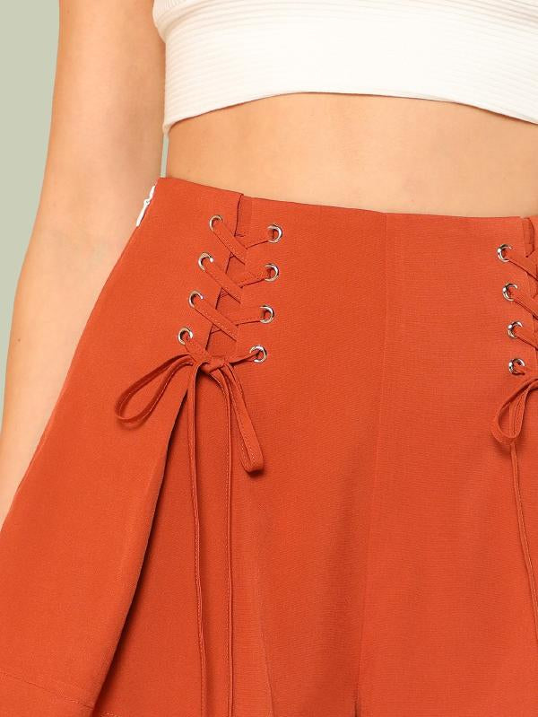 Eyelet Lace Up Wide Leg Shorts
