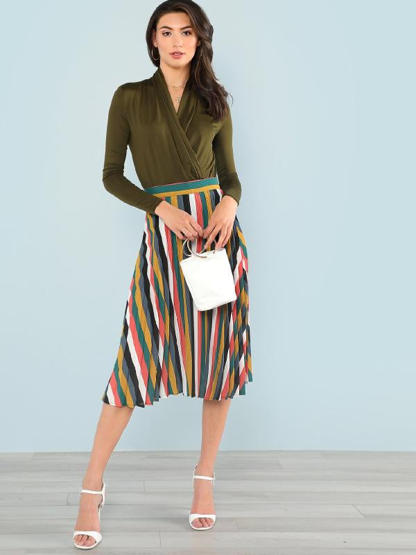 Mixed Striped Pleated Skirt