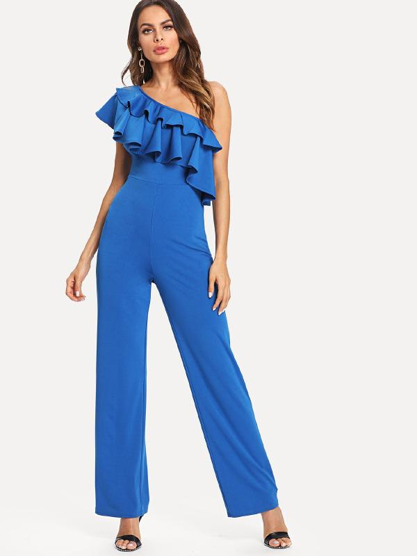 One Shoulder Layered Jumpsuit