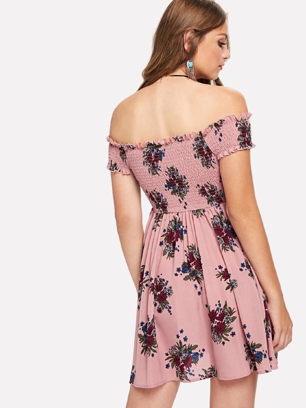 Frilled Shirred Bodice Floral Bardot Dress