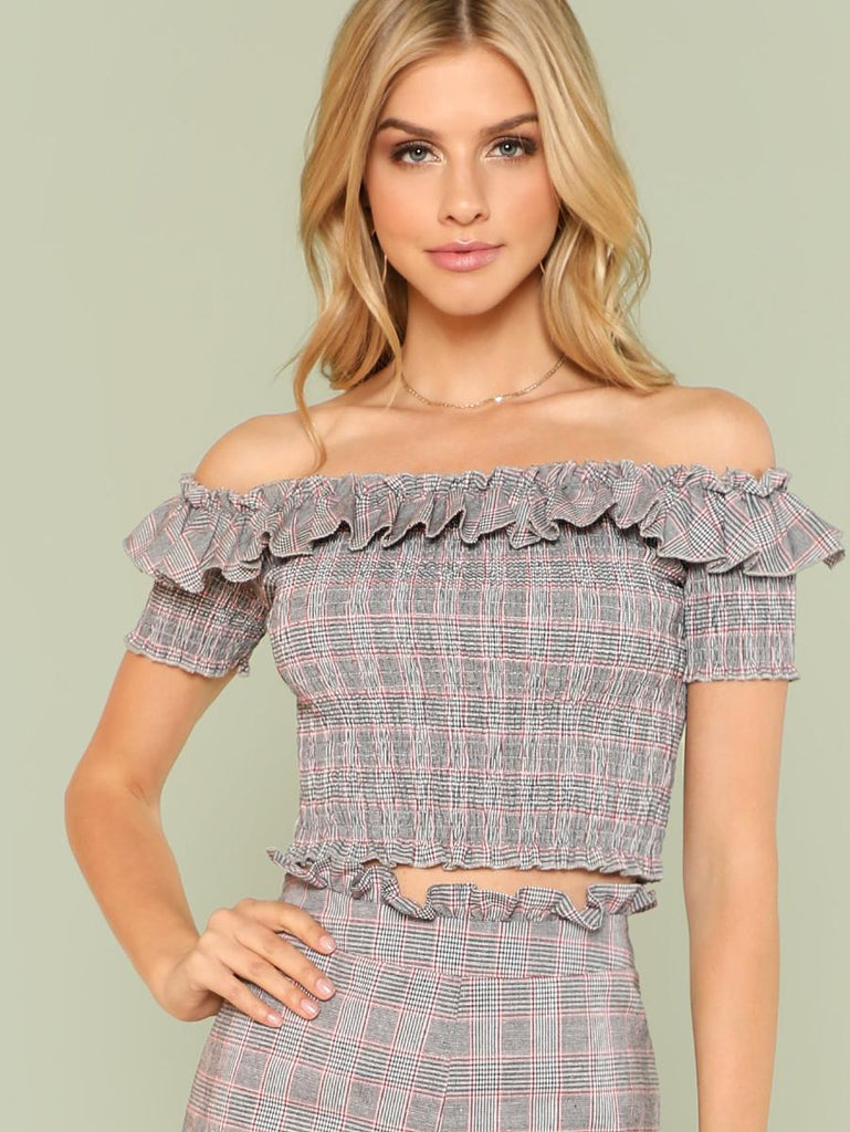 Flounce Layered Neck Smock Top
