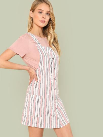 Button Up Pocket Side Striped Pinafore Dress