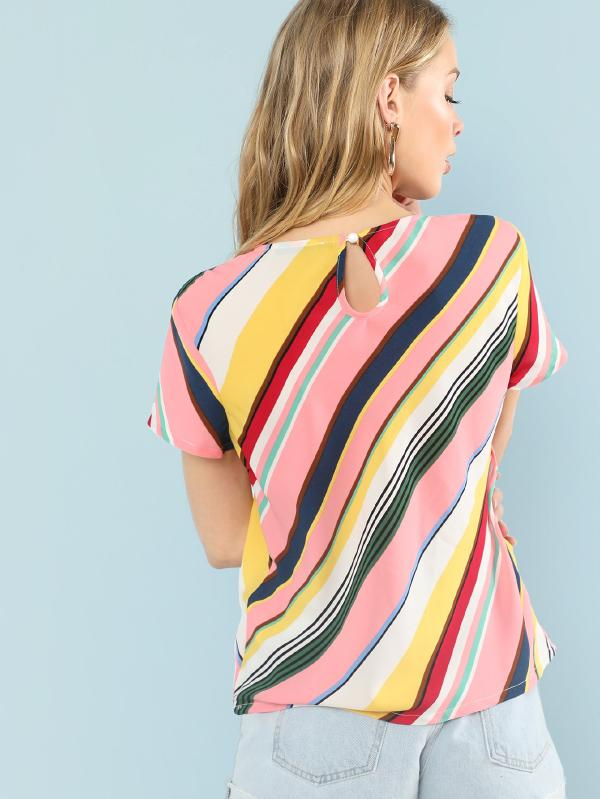 Cut And Sew Striped Keyhole Back Top