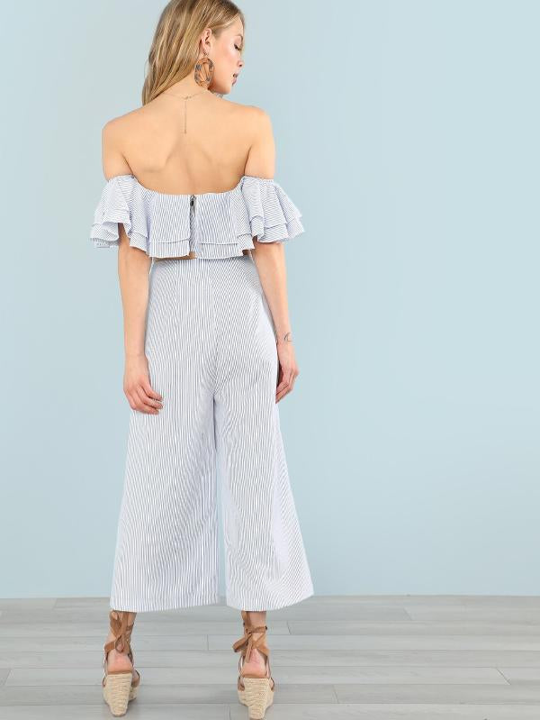 Layered Flounce Trim Bardot Top & Wide Leg Pants