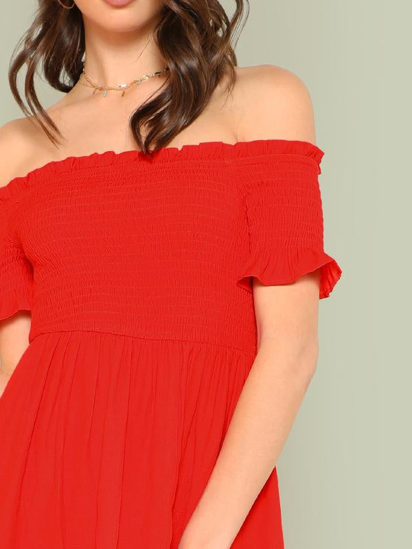 Frill Trim Slit Hem Bardot Dress