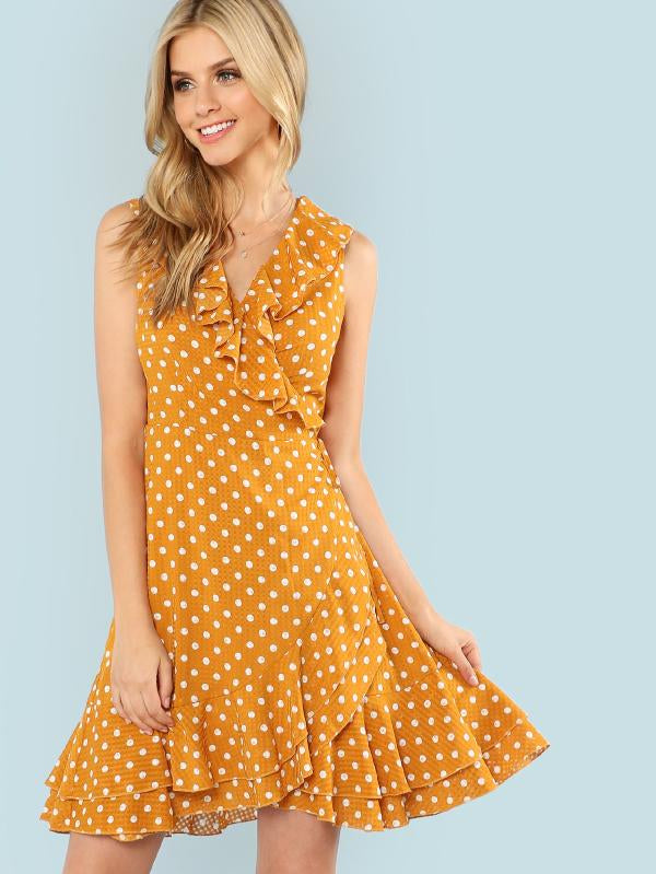 RZX Polka Dot Layered Ruffle Hem Sleeveless Dress