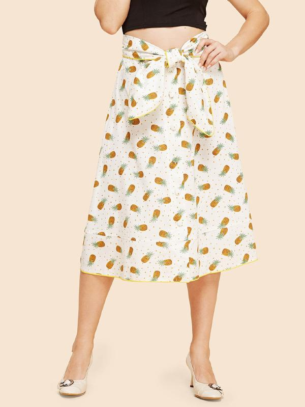Allover Pineapple Print Knot Skirt