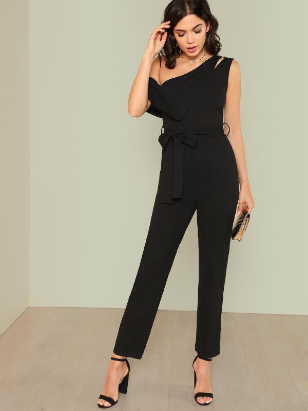Asymmetrical Neck Solid Jumpsuit