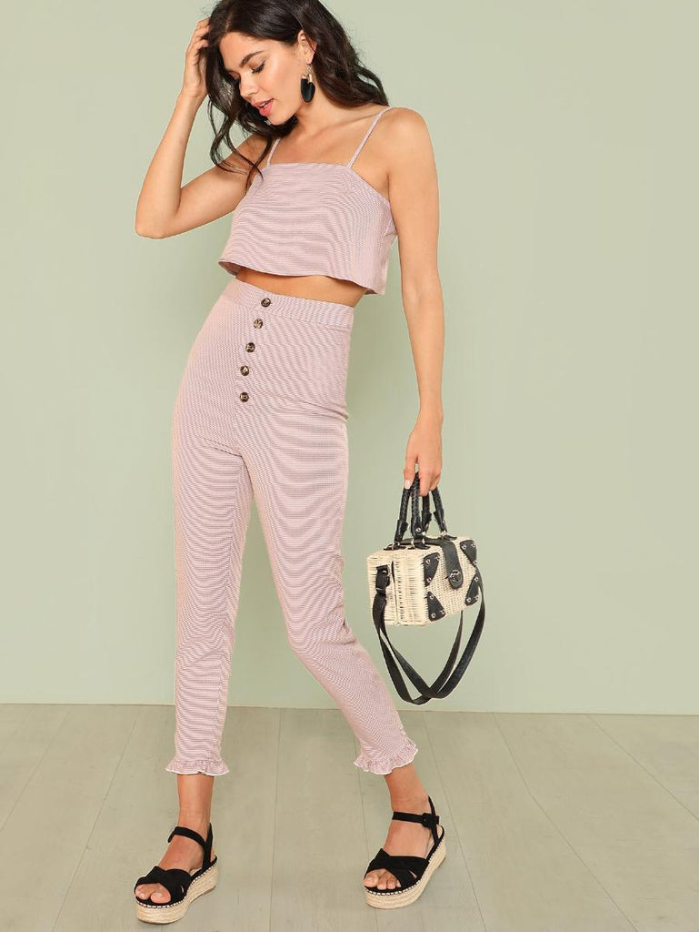 Floral Cami Top & Button Fly Pants Set