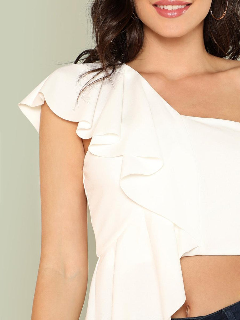 One Shoulder Flounce Top