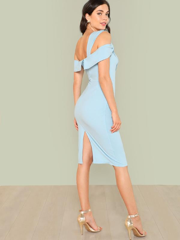 Asymmetrical Neck Twist Detail Dress