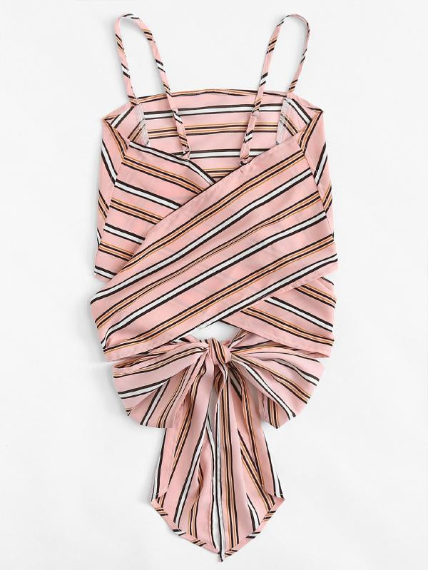 Cross Back Self Tie Striped Cami Top