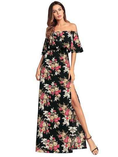 Floral Print Off Shoulder Split Side Dress
