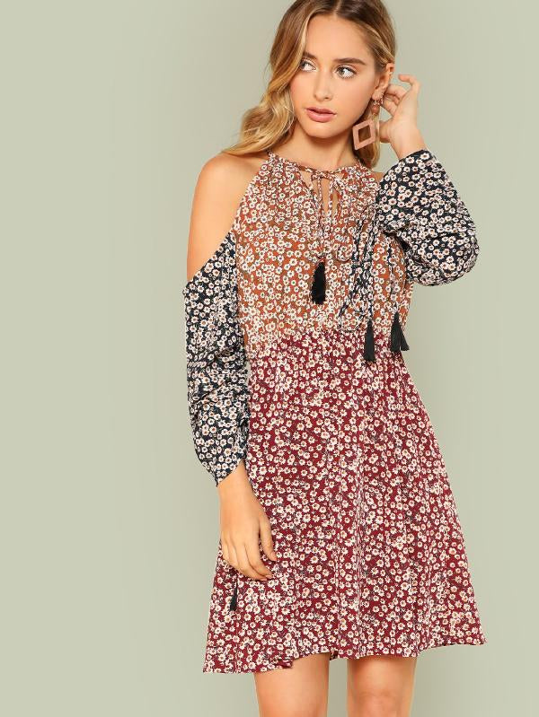 RZX  Daisy Print Halter Dress