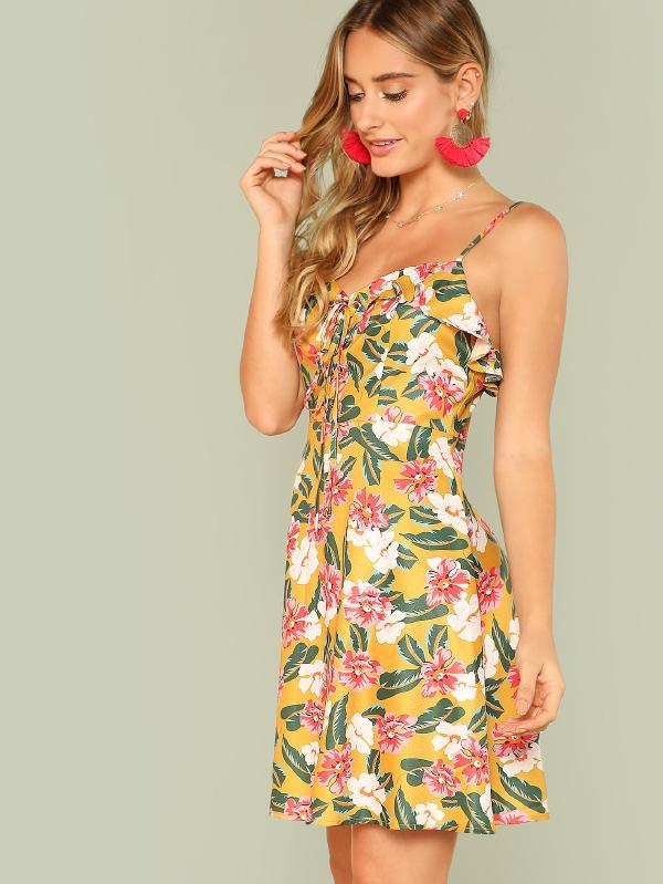 Ruffle Lace Up Front Floral Cami Dress