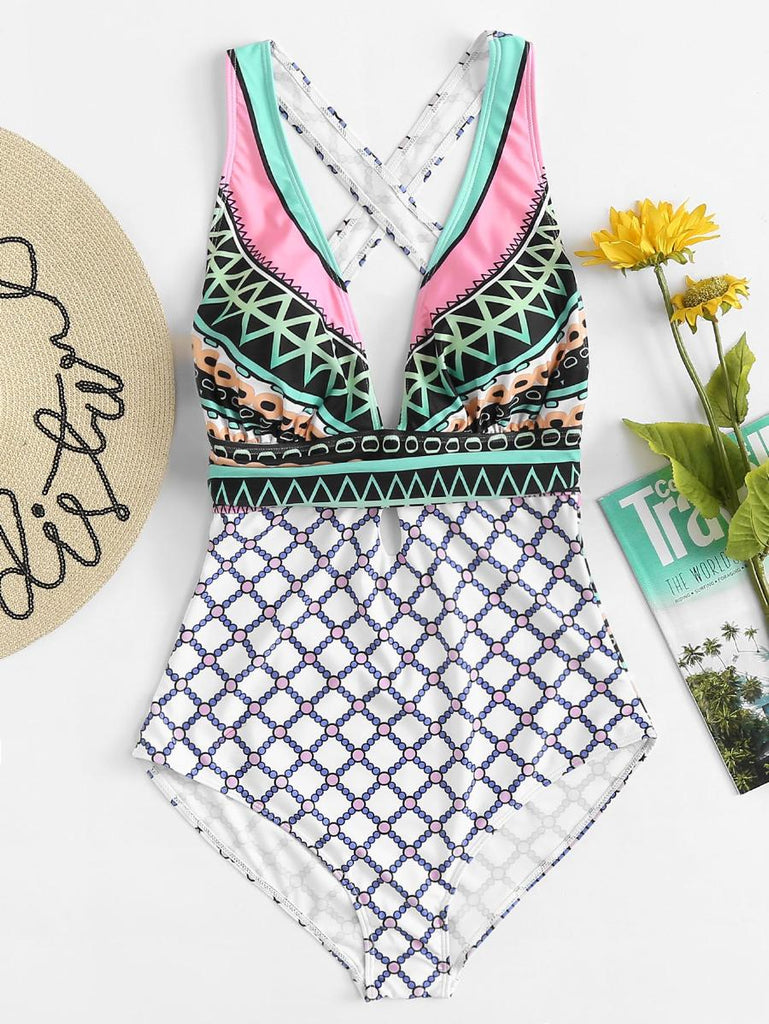 Mixed Print Cross Back Swimsuit