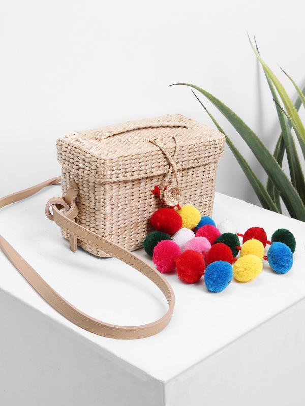 Straw Box Bag With Pom Pom
