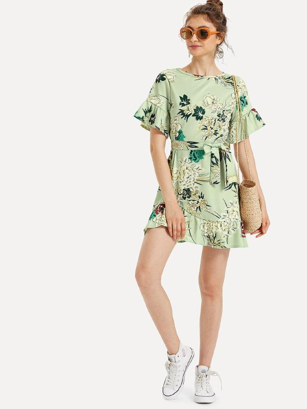 Floral Print Ruffle Hem Belted Dress