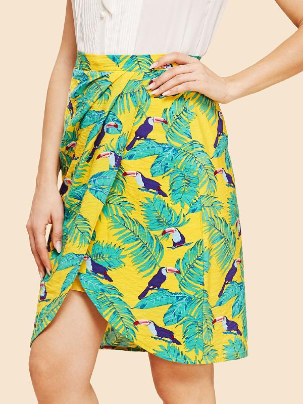 Palm Leaf And Bird Print Overlap Skirt